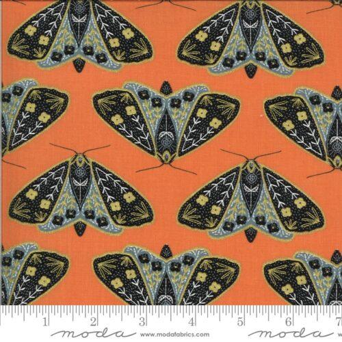 Oranje moderne quiltstof met vlinders