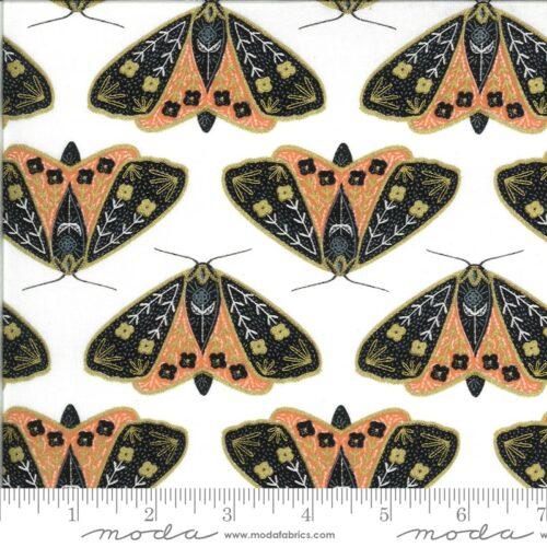 Wit oranje moderne quiltstof met vlinders