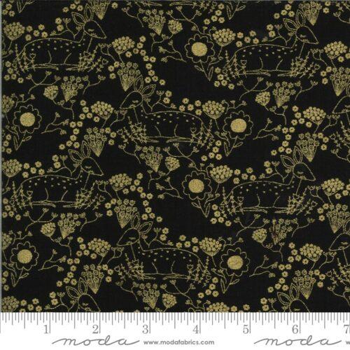 Zwarte moderne quiltstof met goudgele stippen en bloemetjes