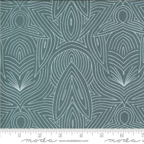 Blauw-grijze moderne quiltstof met florale motieven
