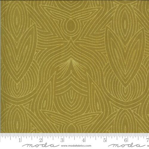 Goud-gele moderne quiltstof met florale motieven