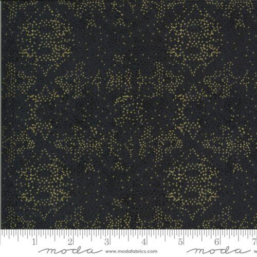 Zwarte moderne quiltstof met goudgele stippen, metallics