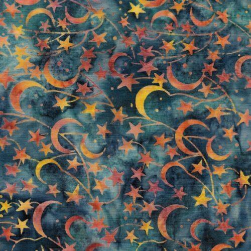 quiltstof met blauwe manen en sterren, 100% katoen, island batiks