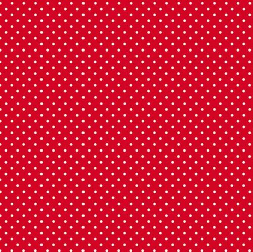 Rode quiltstof met witte stippen, spot on, makower