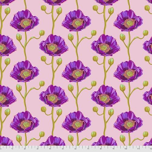 Roze paarse quiltstof met bloemen