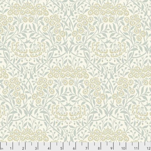 Orkney wit creme bladen op katoenen quiltstof reproductie Morris